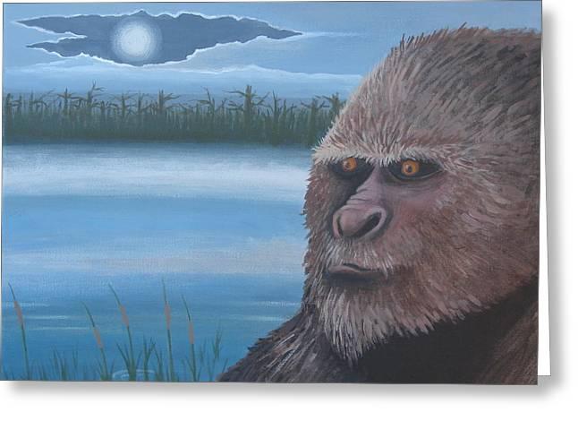 Yeti Greeting Cards - Full Moon at Boggy Creek Greeting Card by Stuart Swartz