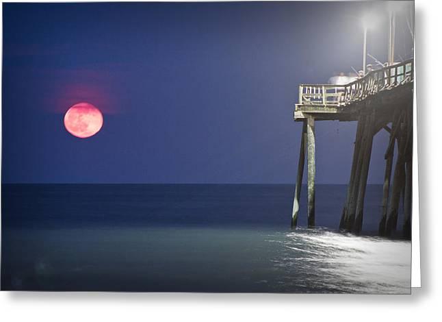 Full Moon At Carolina Beach Pier Greeting Card by Phil Mancuso