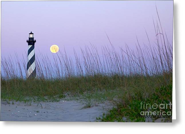 Sea Moon Full Moon Greeting Cards - Full Moon at Hatteras Greeting Card by Laurinda Bowling