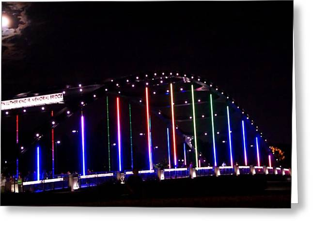 Rainbow Light Greeting Cards - Full Moon At Martin Luther King Junior Bridge Greeting Card by Dan Sproul