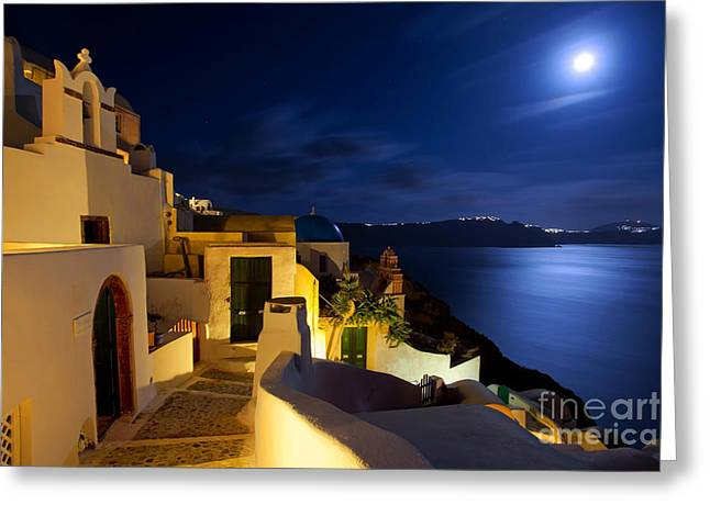Night Scenes Greeting Cards - Full moon at Santorini Greeting Card by Aiolos Greek Collections