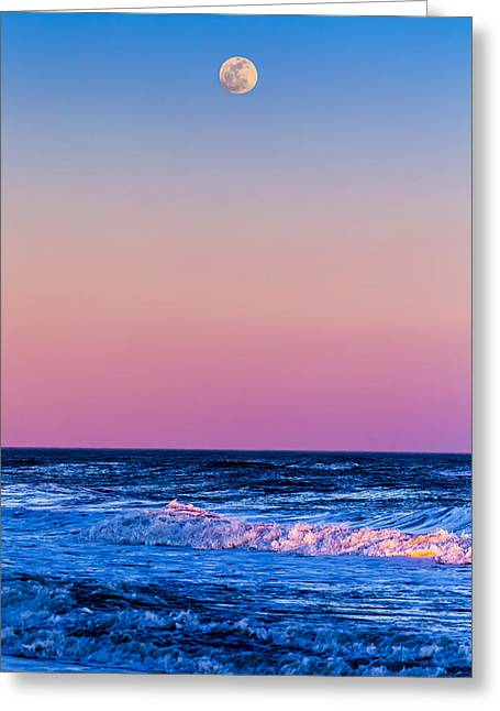 Moon Beach Photographs Greeting Cards - Full Moon at Sea Greeting Card by Ryan Moore