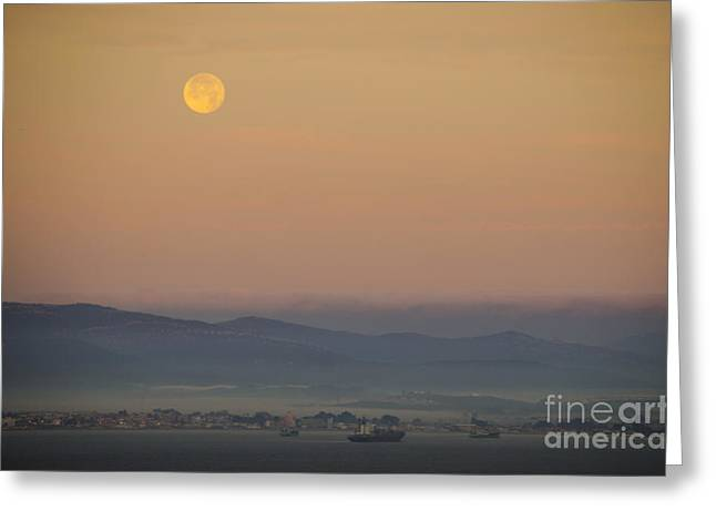 Man In The Moon Greeting Cards - Full Moon at Sunrise over Spanish Coast Greeting Card by Deborah Smolinske
