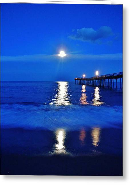 Moon Beach Greeting Cards - Full Moon Avon Pier 5 10/07 Greeting Card by Mark Lemmon