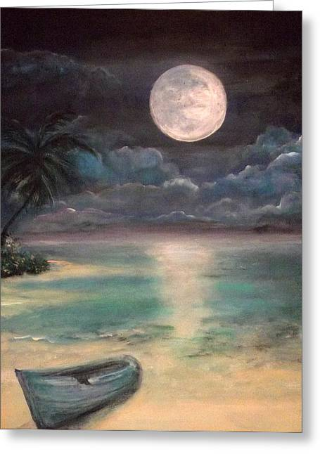 Beach At Night Mixed Media Greeting Cards -  Blue Bay Moonrise Greeting Card by Nancy Welsch