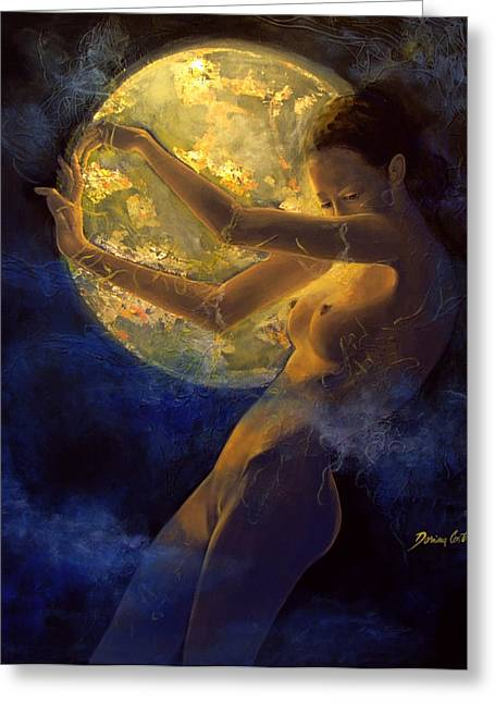 Nude Fantasy Greeting Cards - Full Moon Greeting Card by Dorina  Costras