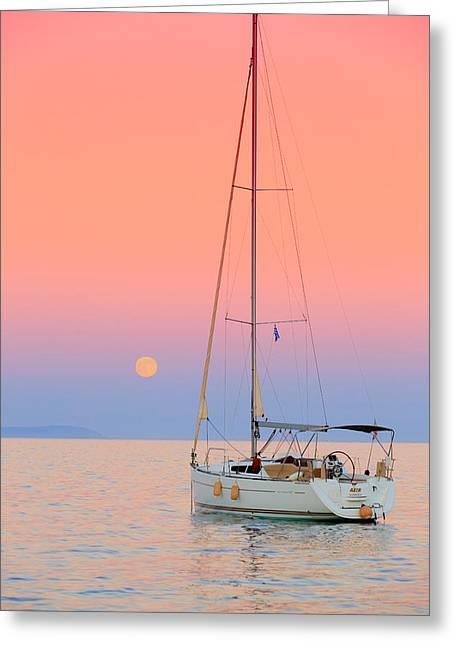 Plaka Greeting Cards - Full Moon Greeting Card by Emmanuel Panagiotakis