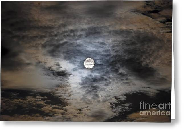 Ghostly Greeting Cards - Full Moon In Clouds Greeting Card by Alan Dyer
