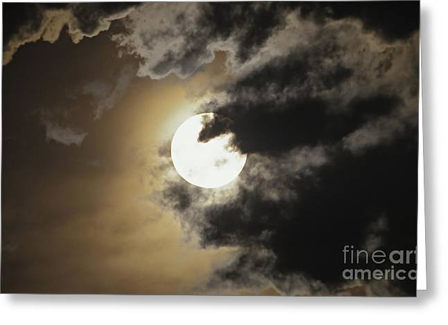 Ghostly Greeting Cards - Full Moon In Clouds, Gleichen, Alberta Greeting Card by Alan Dyer