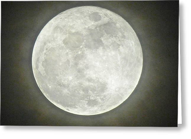 Sea Moon Full Moon Greeting Cards - Full Moon in the Clouds Greeting Card by Robert Abbett