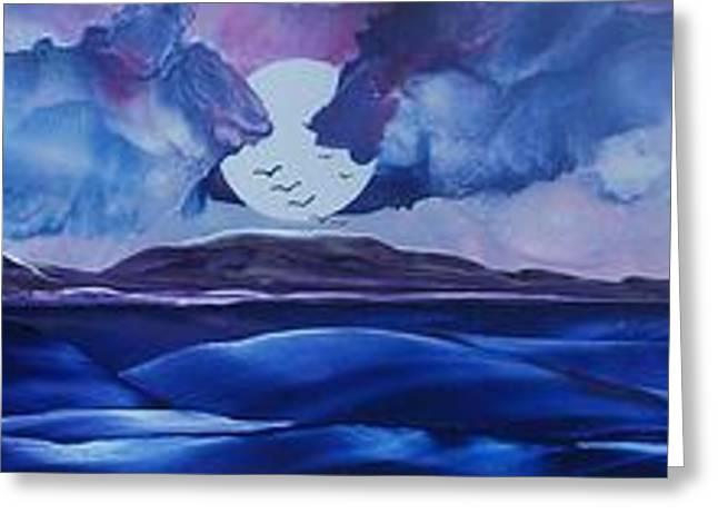 Moonshadow Greeting Cards - Full Moon Islands Greeting Card by Danita Cole