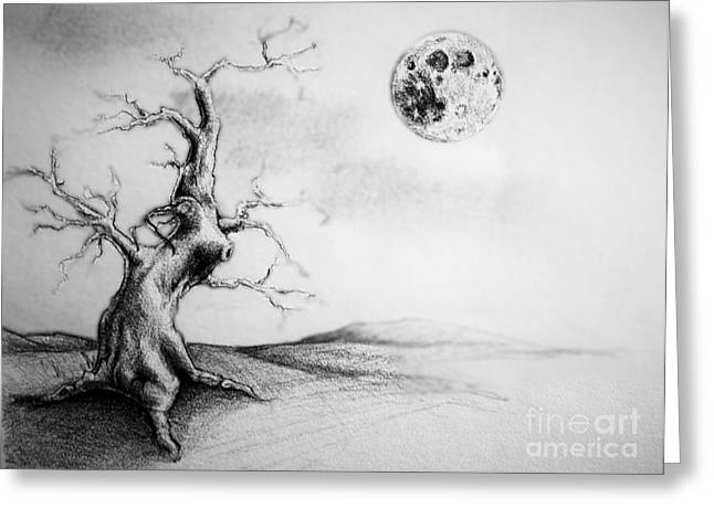 Jeff Drawings Drawings Greeting Cards - Full Moon Greeting Card by Jeff  Blevins
