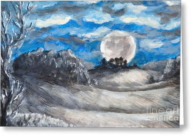 Winter Night Greeting Cards - Full Moon Greeting Card by Jiri Capek
