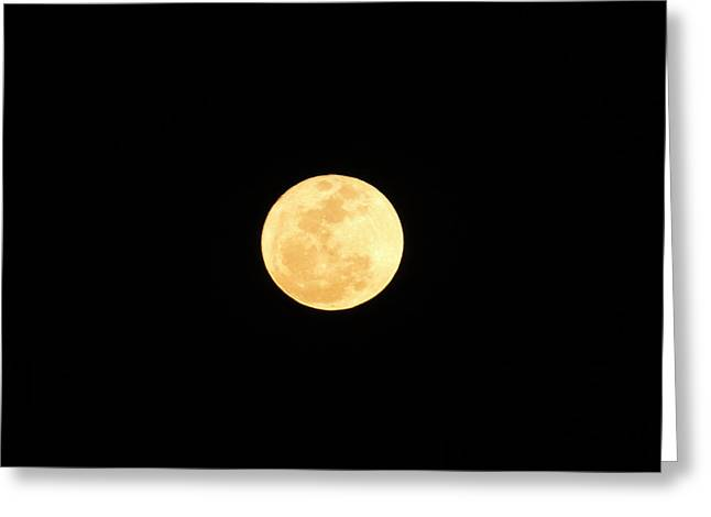 Man In The Moon Greeting Cards - Full Moon of Gold Greeting Card by Cindy Croal