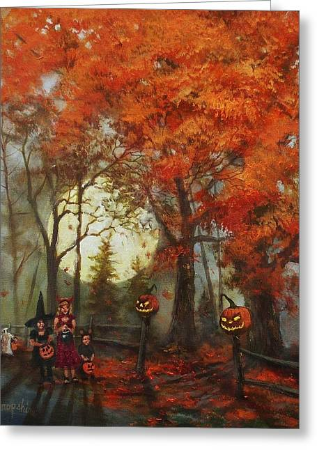 Treat Greeting Cards - Full Moon on Halloween Lane Greeting Card by Tom Shropshire