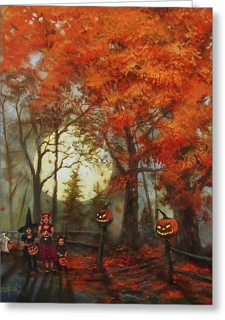 Lantern Greeting Cards - Full Moon on Halloween Lane Greeting Card by Tom Shropshire