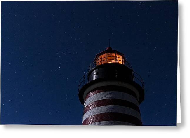 West Quoddy Head Lighthouse Greeting Cards - Full Moon on Quoddy Greeting Card by Marty Saccone