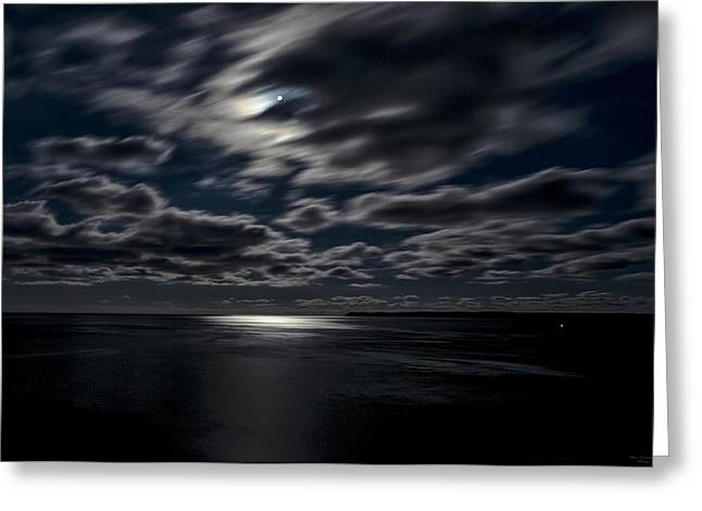 Full Moon On The Bay Of Fundy Greeting Card by Marty Saccone