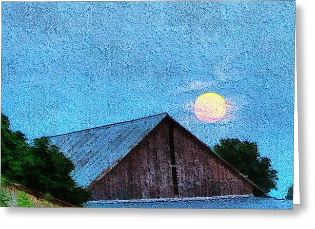 Full Moon Mixed Media Greeting Cards - Full Moon On The Farm Greeting Card by Dan Sproul