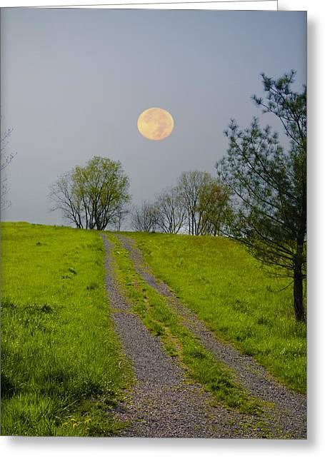 Gravel Road Digital Art Greeting Cards - Full Moon on the Rise Greeting Card by Bill Cannon