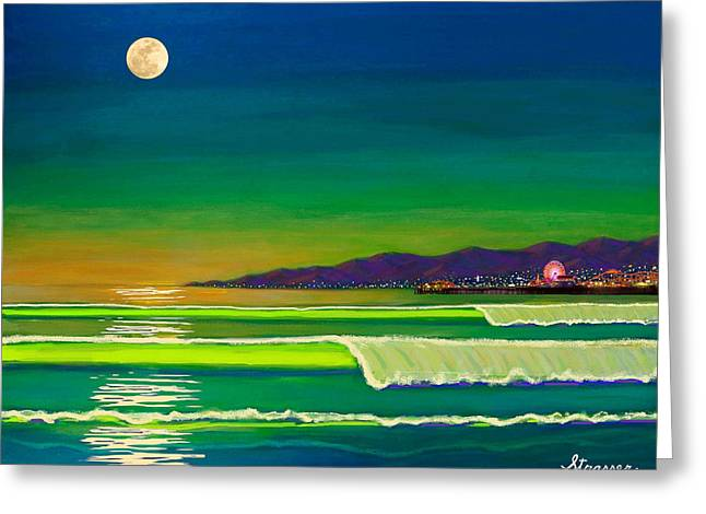 City Lights Greeting Cards - Full Moon on Venice Beach Greeting Card by Frank Strasser