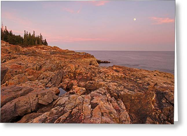 Moonrise Greeting Cards - Full Moon over Acadia National Park Greeting Card by Juergen Roth