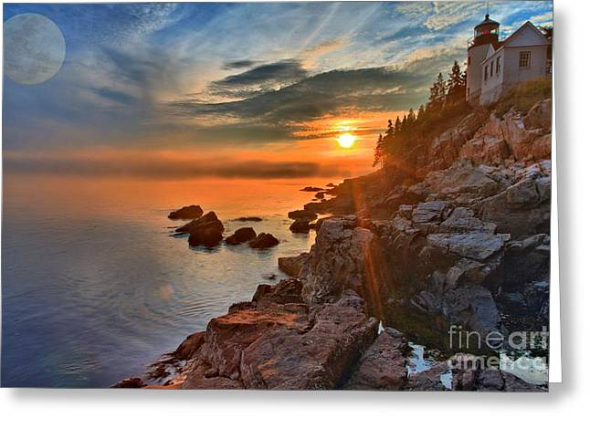 Bass Harbor Greeting Cards - Full Moon Over Bass Harbor Greeting Card by Adam Jewell