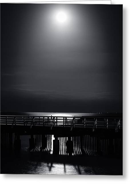 Sea Moon Full Moon Greeting Cards - Full Moon over Bramble Bay Greeting Card by Peta Thames