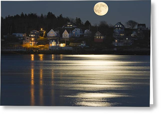 Down East Greeting Cards - Full Moon Over Kennebec River Georgetown Island Maine Greeting Card by Keith Webber Jr