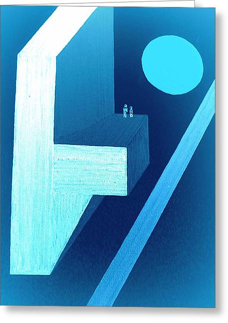 Manhattan Pastels Greeting Cards - Full Moon over Manhattan Greeting Card by Bill OConnor