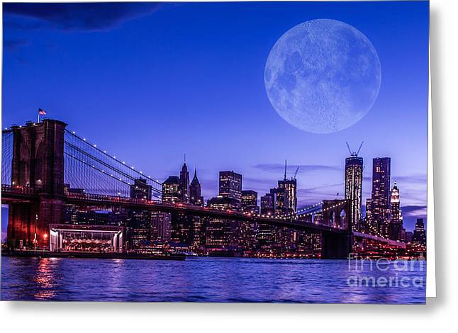 Full Moon Over Manhattan II Greeting Card by Hannes Cmarits
