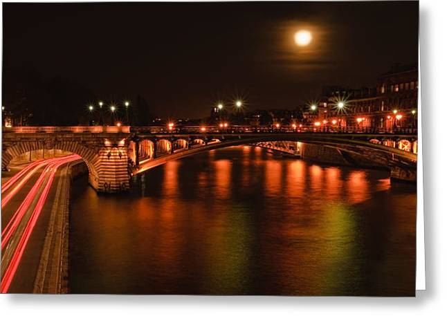 Paris In Lights Greeting Cards - Full Moon Over Paris - Urban Landscapes Greeting Card by Laria Saunders