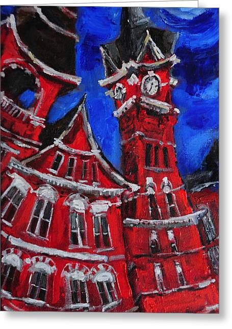 Auburn University Greeting Cards - Full Moon Over Samford Greeting Card by Carole Foret