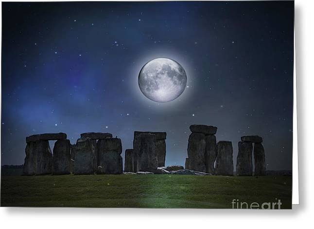 Full Moon Over Stonehenge Greeting Card by Juli Scalzi