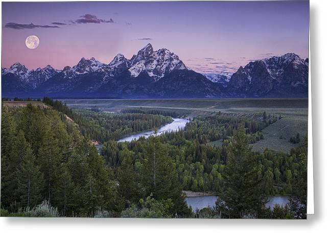 Grand River Greeting Cards - Full Moon over the Mountains Greeting Card by Andrew Soundarajan