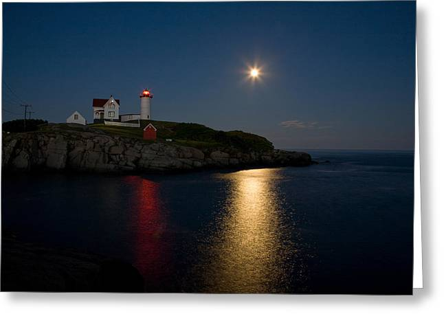 Cape Neddick Greeting Cards - Full Moon over the Nubble Lighthouse Greeting Card by Geri Lynn Smith