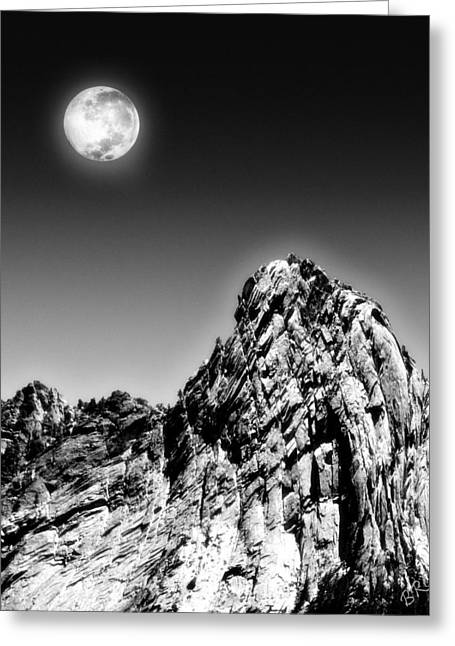Rugged Terrain Greeting Cards - Full Moon Over The Suicide Rock Greeting Card by Ben and Raisa Gertsberg