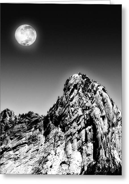 Black Top Greeting Cards - Full Moon Over The Suicide Rock Greeting Card by Ben and Raisa Gertsberg