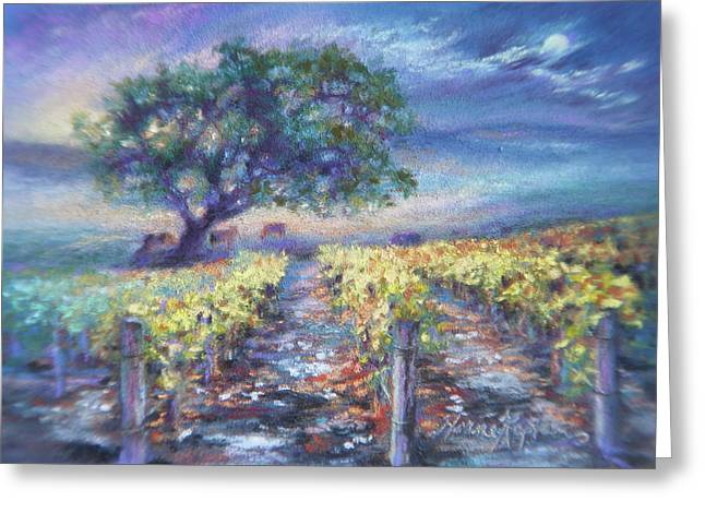 Mountain Valley Pastels Greeting Cards - Full Moon Over The Vineyard Greeting Card by Denise Horne-Kaplan