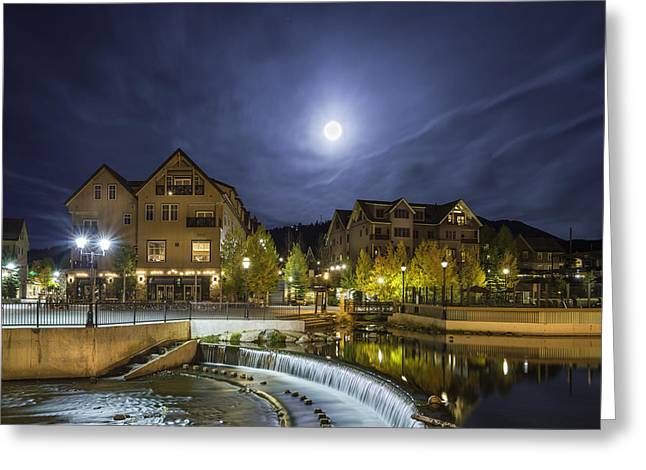 Scenic Greeting Cards - Full Moon Over Village Greeting Card by Michael J Bauer