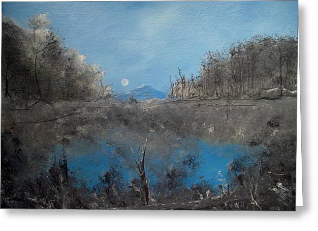 Valley Of The Moon Paintings Greeting Cards - Full Moon over Volcan Greeting Card by Louis Crosby