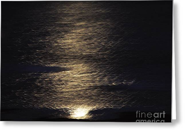 Full Moon Reflection Greeting Card by Moira Rowe