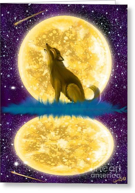 Wolf Moon Greeting Cards - Full Moon Reflections Greeting Card by Nick Gustafson