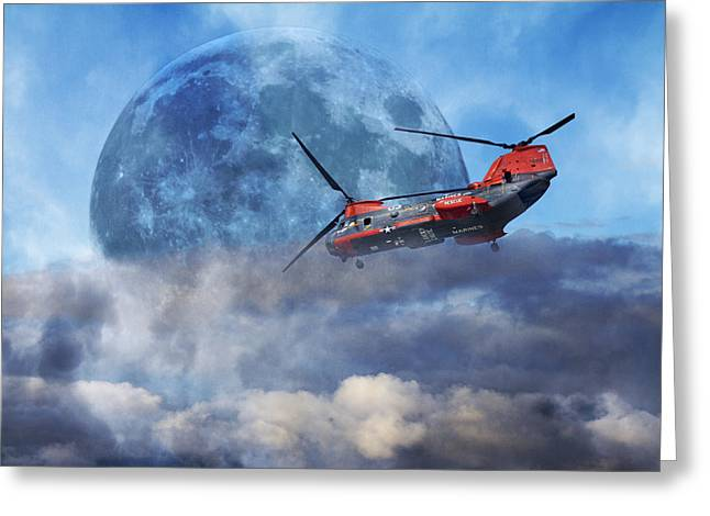 Chinook Greeting Cards - Full Moon Rescue Greeting Card by Betsy C  Knapp