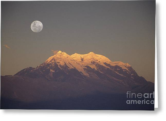 Full moon rise over Mt Illimani Greeting Card by James Brunker