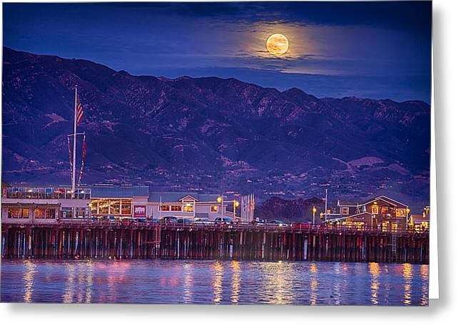 Stearns Wharf Greeting Cards - Full Moon Rising #2 Greeting Card by Shauna Milton