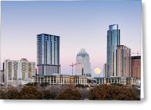 Colorado State University Greeting Cards - Full Moon Rising behind Downtown Austin Skyline Texas Greeting Card by Silvio Ligutti