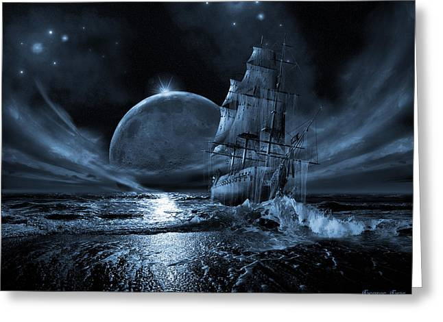 Boat Cruise Digital Greeting Cards - Full moon rising Greeting Card by George Grie