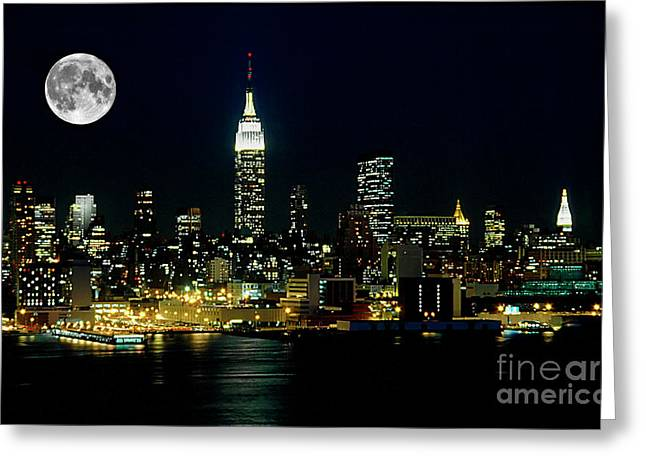 Broadway Greeting Cards - Full Moon Rising - New York City Greeting Card by Anthony Sacco