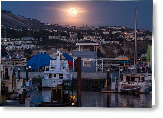 Southern California Greeting Cards - Full Moon Rising Over Dana Point Jet Ski Rental Greeting Card by Scott Campbell